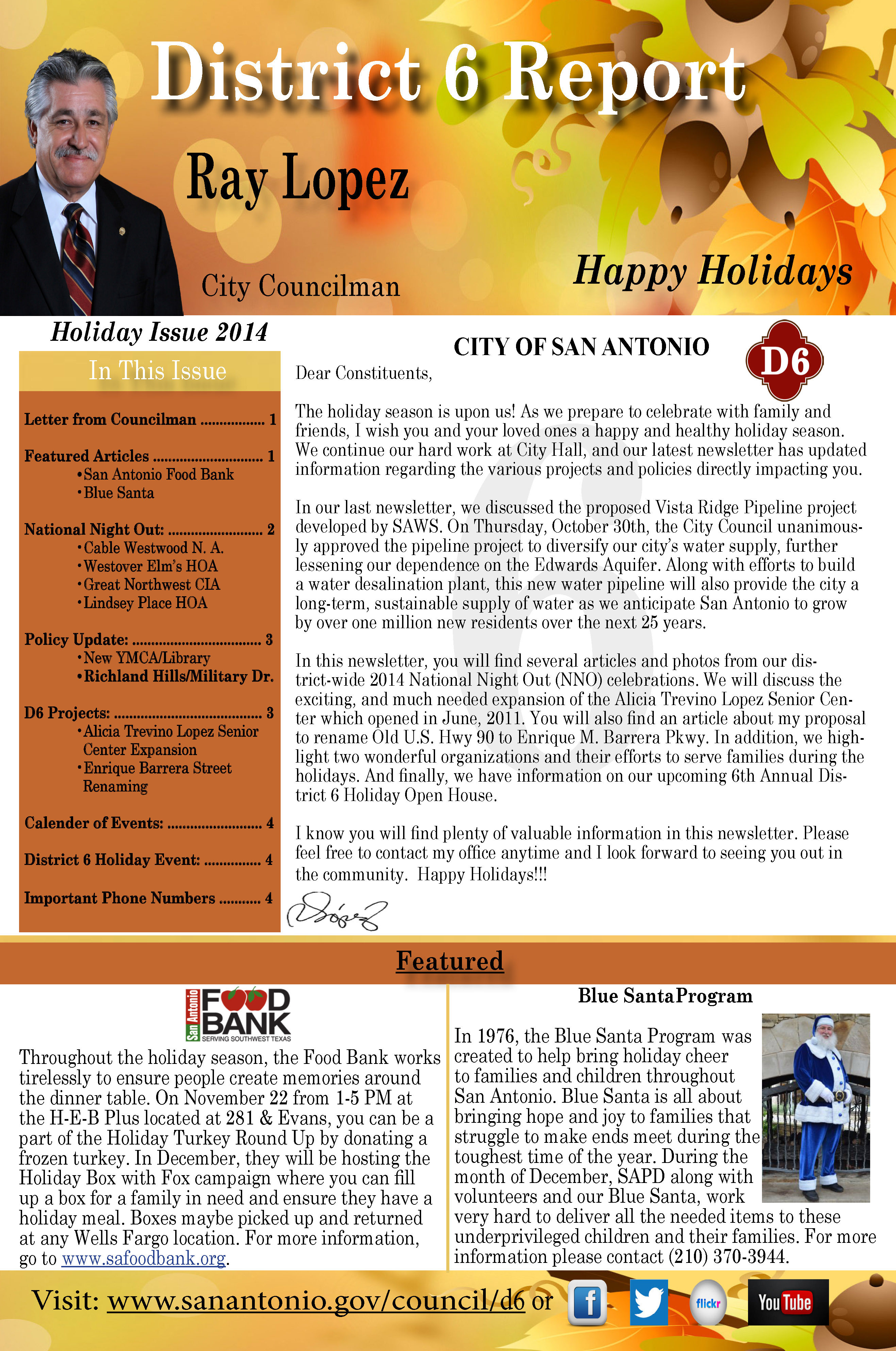 District 6 Newsletter - 2014 Holiday Newsletter